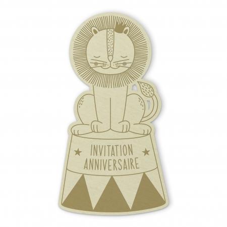 Invitation anniversaire Lion de Cirque recto en bois de peuplier Collection Circus.