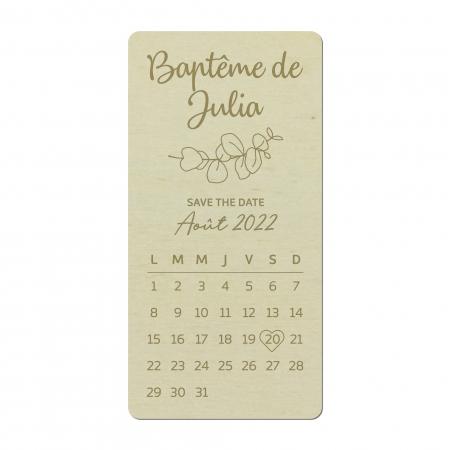 Save the date personnalisé, faire-part personnalisé de baptême en bois de peuplier et motif eucalyptus
