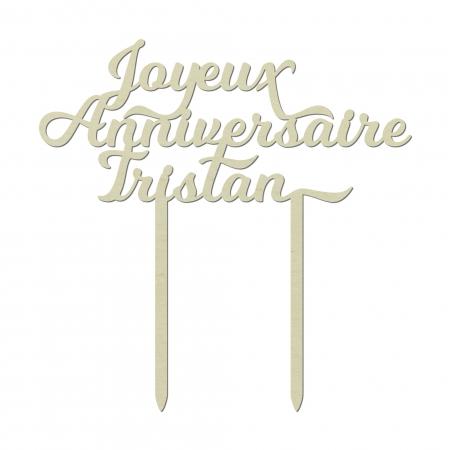 Cake topper personnalisé Joyeux Anniversaire avec prénom en bois de peuplier pour décoration de gâteau d'anniversaire