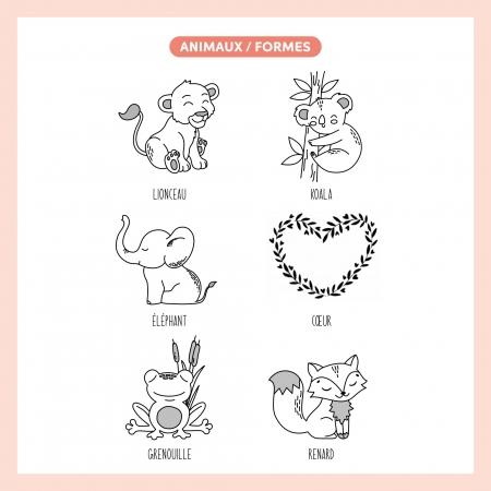 Dessins animaux et formes pour Cube en bois personnalisé cadeau de naissance.