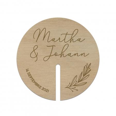 Décor de verre personnalisé en bois collection mariage Verlaine.