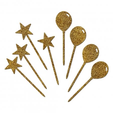 8 minis cake toppers Ballons et Étoiles en plexi glitter or Collection Circus.