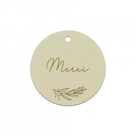 Étiquette cadeau personnalisée en bois peuplier collection mariage Verlaine.