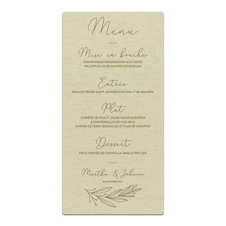 Menu de mariage personnalisé sur bois collection mariage Verlaine.
