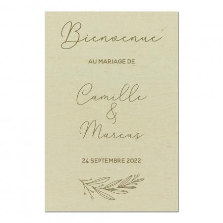 Panneau de bienvenue mariage personnalisé en bois collection mariage Verlaine.
