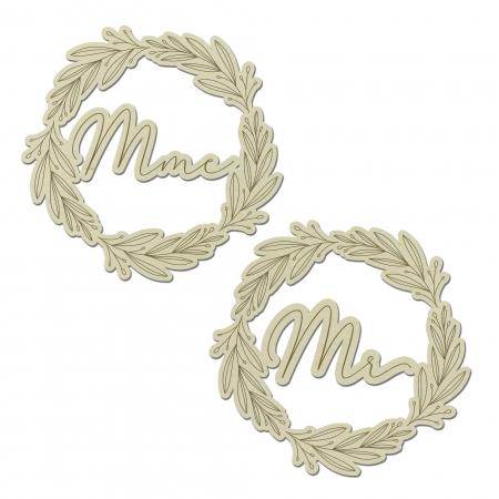 Décors de chaise couronne de mariage Mr et Mme en bois de peuplier collection mariage Verlaine.