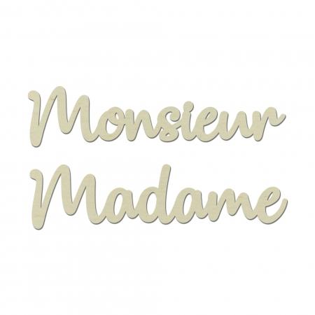 Décors de chaise enseigne Monsieur Madame mariage Typographie 1 en bois.