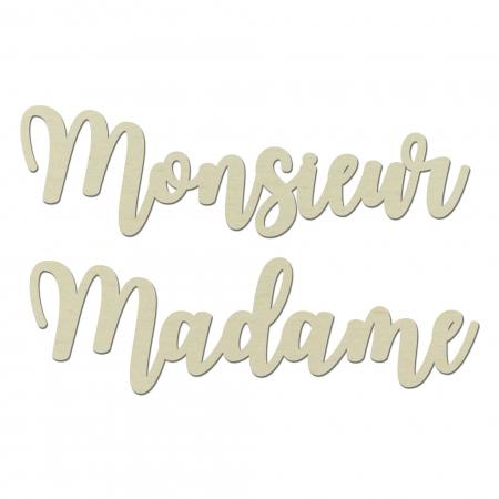 Décors de chaise enseigne Monsieur Madame mariage Typographie 2 en bois