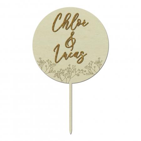 Cake topper personnalisé pour décorer le gâteau de mariage, motif gypsophiles en bois de peuplier collection Garance