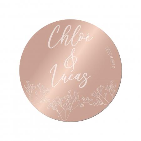 Sous-verre personnalisé mariage collection Garance gypsophiles en plexi miroir rose gold.