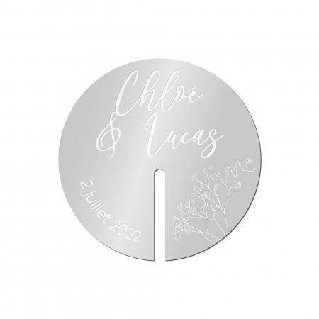 Décor de verre mariage collection Garance gypsophiles plexi miroir argent.