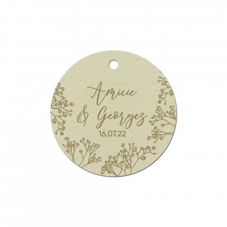 Lot de 10 étiquettes cadeau gypsophiles de la collection de mariage Garance.