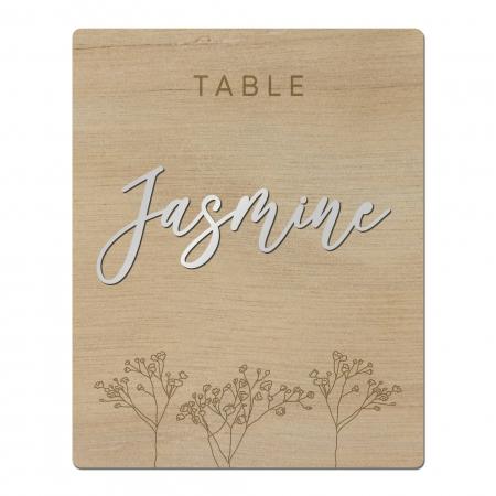 Nom de table gypsophiles collection Garance en bois d'okoumé avec nom relief plexi miroir argent.