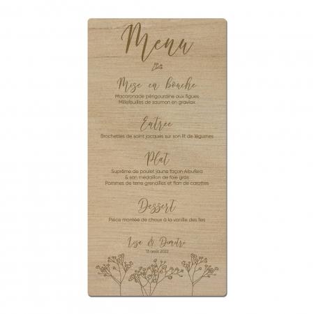 Menu de table mariage collection Garance avec motif gypsophiles en bois d'okoumé.