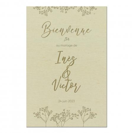 Panneau de bienvenue motif gypsophiles mariage collection Garance en bois de peuplier.
