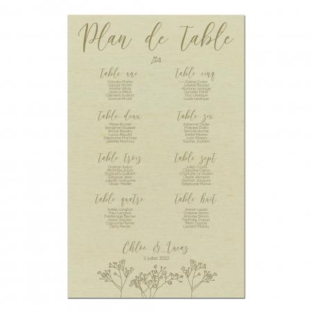 Plan de table mariage personnalisé en bois de peuplier collection Garance.