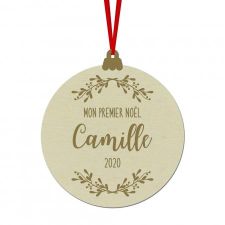 """Boule de Noël personnalisée """" Branche de Gui """" Mon Premier Noël en bois de peuplier."""