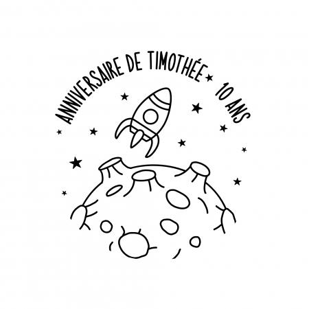 Tampon personnalisé Astéroïde & fusée pour anniversaire