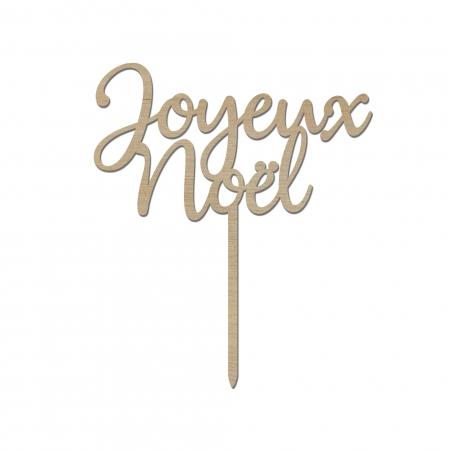 """Cake topper personnalisé """" Joyeux Noël """" typographie 1 bois de peuplier"""