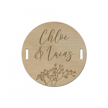 Rond de serviette noms des mariés collection mariage Garance motif gypsophiles bois okoumé.