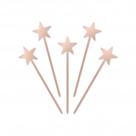 Ensemble de 5 minis cake toppers Étoiles en plexi miroir rose gold