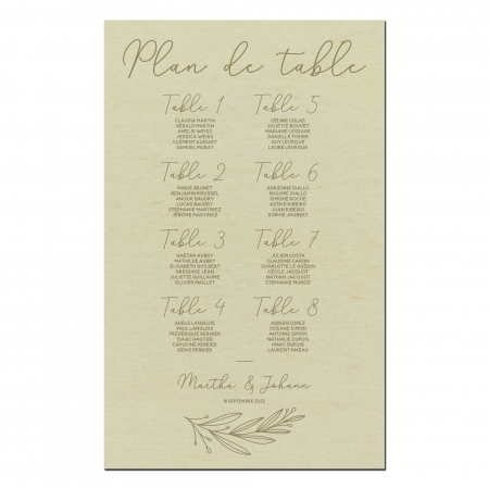 Plan de table mariage personnalisé en bois collection mariage Verlaine.
