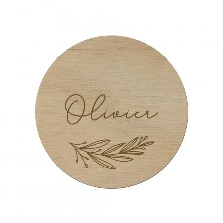 Marque place feuilles personnalisé en bois okoumé Collection Verlaine.