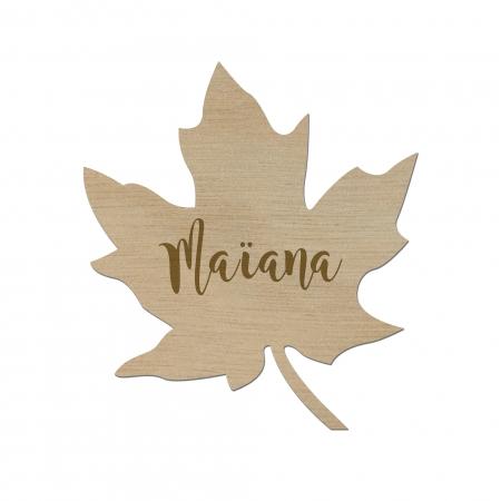 Marque place feuille d'arable pour mariage en bois d'okoumé