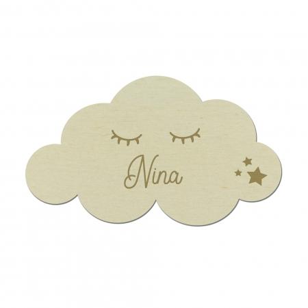 Marque place personnalisé nuage pour mariage en bois de peuplier
