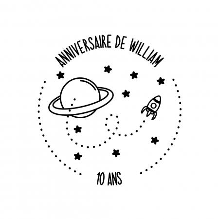 Tampon anniversaire personnalisé thème planètes et espace, collection Vers l'infini
