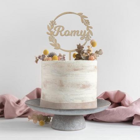 Cake topper personnalisé couronne de feuille prénom en bois d'okoumé