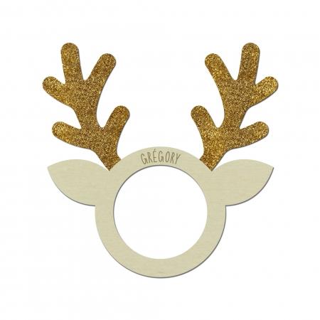 Rond de serviette personnalisé bois de peuplier plexi pailleté or en forme de Renne de Noël