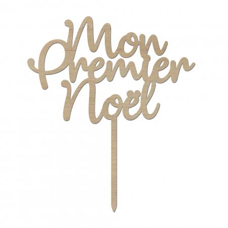 Cake Topper « Mon Premier Noël » en bois okoumé