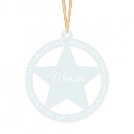 Boule de Noël Étoile personnalisée prénom givré vert d'eau.