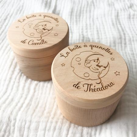 Boîte à quenottes personnalisée, boîte à dents de lait en bois de hêtre