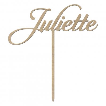 Cake topper personnalisé prénom Juliette en bois d'okoumé.