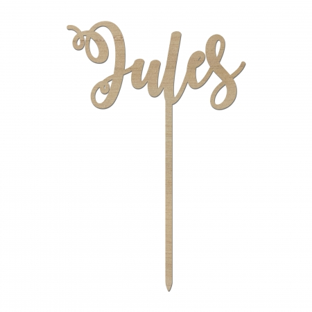 Cake topper personnalisé prénom Jules en bois d'okoumé.