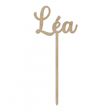 Cake topper personnalisé prénom Léa en bois d'okoumé