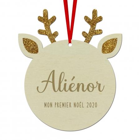 Boule de Noël Renne personnalisée en bois de peuplier et plexigla glitter