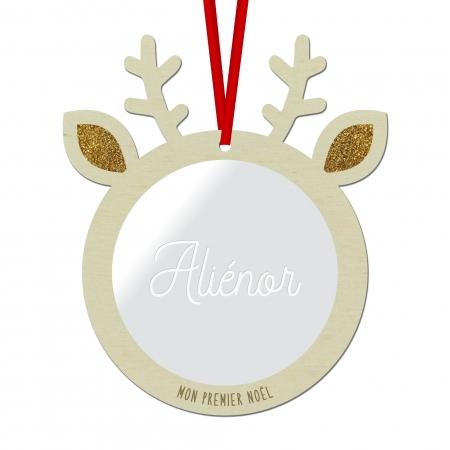 Boule de Noël personnalisée renne gravure plexiglas miroir