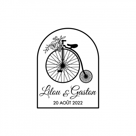 Tampon personnalisé Grand bi, bicyclette pour mariage