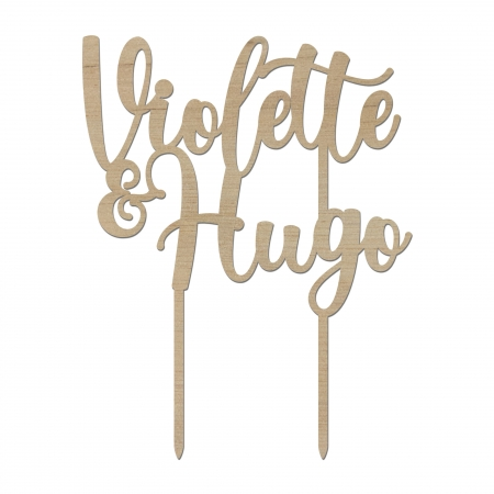 Cake topper personnalisé prénom mariage calligraphie 3 en bois d'okoumé