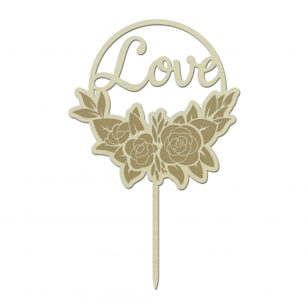 Cake topper Love floral personnalisé avec fleurs et feuilles en bois de peuplier