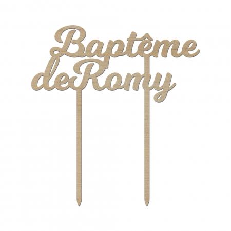 Cake topper personnalisé de baptême en bois d'okoumé