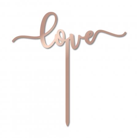 Cake topper Love pour gâteau de mariage en plexiglas miroir rose gold