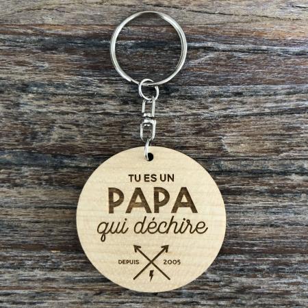 Porte-clé personnalisé en bois d'érable pour la fête des pères Papa qui déchire
